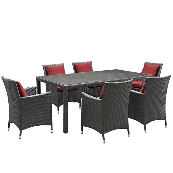 Modway Furniture Sojourn Red 7pc Outdoor Sunbrella Dining Set EEI-2271-CHC-RED-SET