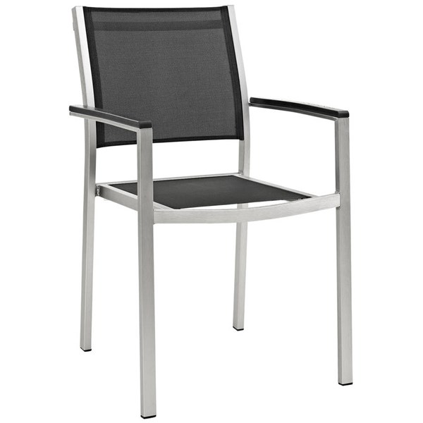Modway Furniture Shore Silver Black Outdoor Patio Dining Chair EEI-2272-SLV-BLK