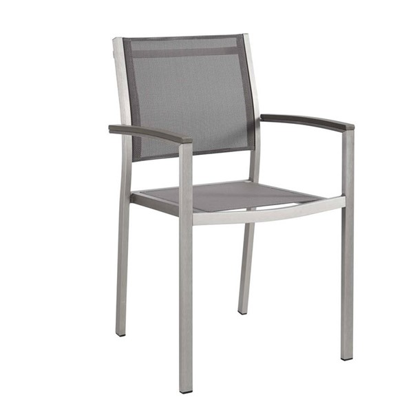 Modway Furniture Shore Silver Gray Outdoor Patio Dining Chair EEI-2272-SLV-GRY