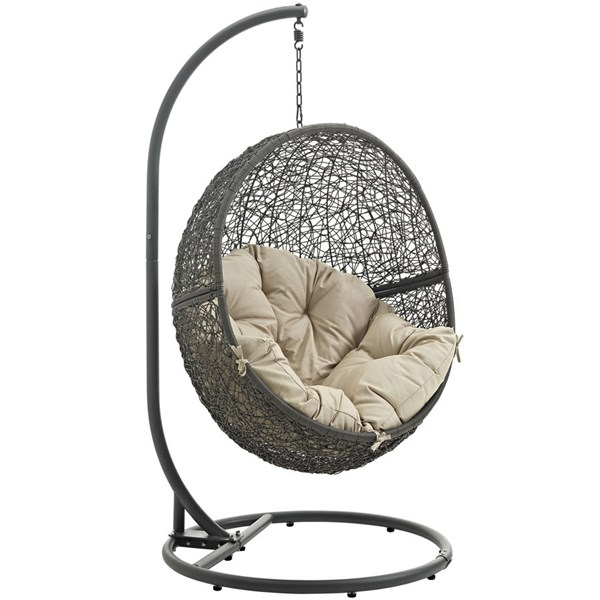 Modway Furniture Hide Gray Outdoor Swing Chairs with Stand EEI-2273-GRY-OS-CH-VAR