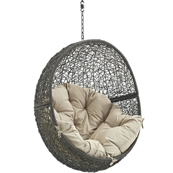 Modway Furniture Hide Gray Beige Outdoor Swing Chair with Stand EEI-2273-GRY-BEI