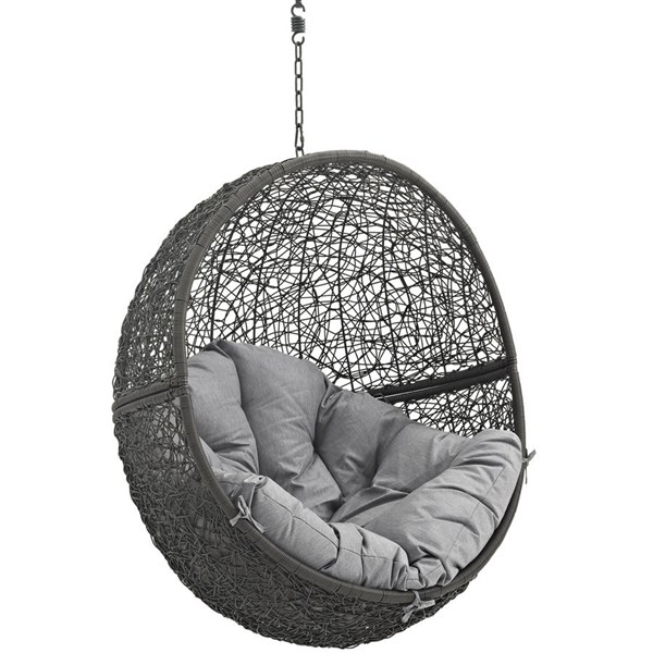 Modway Furniture Hide Gray Outdoor Swing Chair with Stand EEI-2273-GRY-GRY