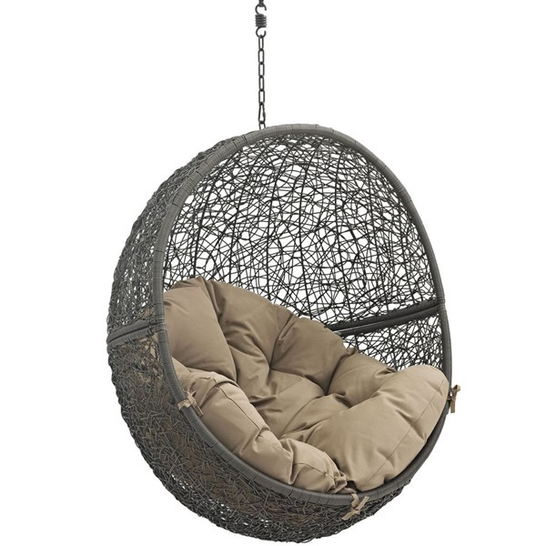 Modway Furniture Hide Gray Mocha Outdoor Swing Chair with Stand EEI-2273-GRY-MOC