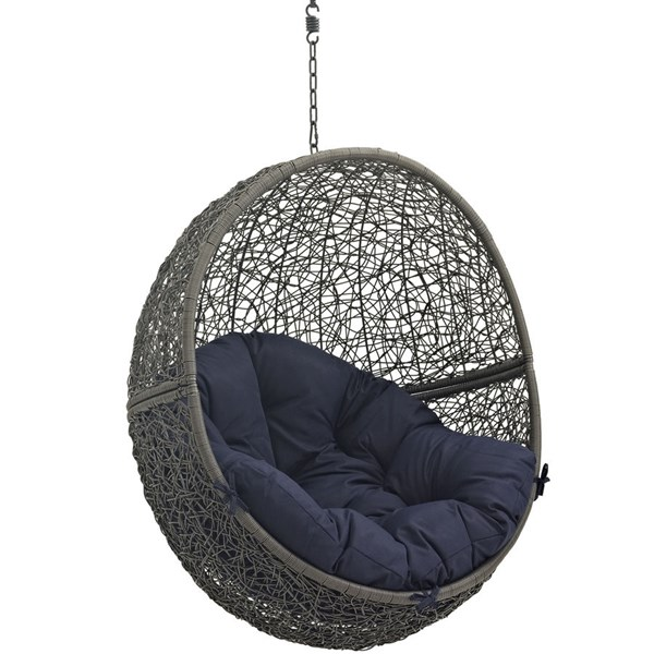 Modway Furniture Hide Gray Navy Outdoor Swing Chair with Stand EEI-2273-GRY-NAV