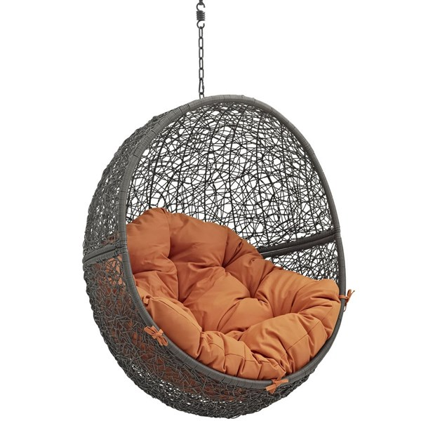 Modway Furniture Hide Gray Orange Outdoor Swing Chair with Stand EEI-2273-GRY-ORA
