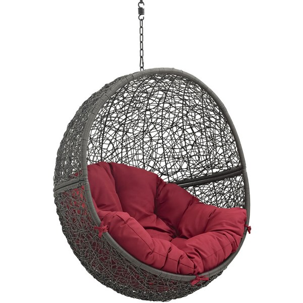 Modway Furniture Hide Gray Red Outdoor Swing Chair with Stand EEI-2273-GRY-RED