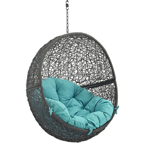 Modway Furniture Hide Gray Turquoise Outdoor Swing Chair with Stand EEI-2273-GRY-TRQ