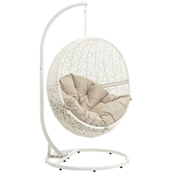 Modway Furniture Hide White Outdoor Swing Chairs with Stand EEI-2273-WHI-OS-CH-VAR
