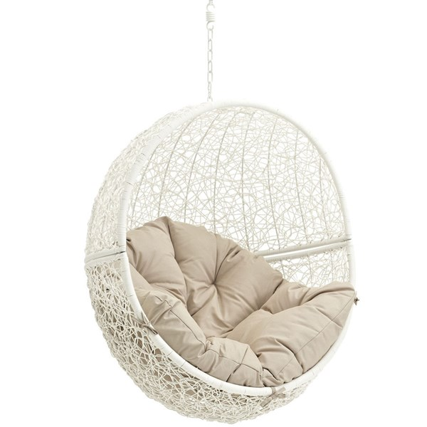 Modway Furniture Hide White Beige Outdoor Swing Chair with Stand EEI-2273-WHI-BEI
