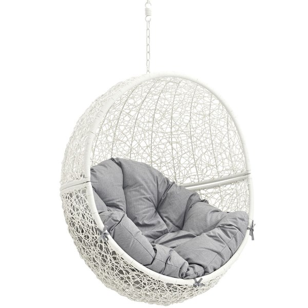 Modway Furniture Hide White Gray Outdoor Swing Chair With