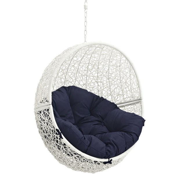 Modway Furniture Hide White Navy Outdoor Swing Chair with Stand EEI-2273-WHI-NAV