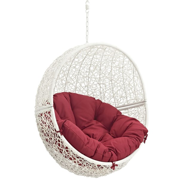 Modway Furniture Hide White Red Outdoor Swing Chair with Stand EEI-2273-WHI-RED