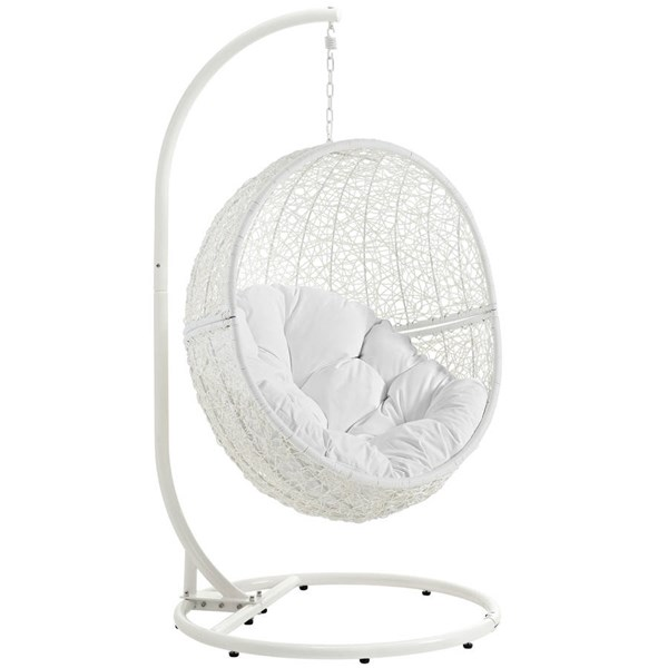Modway Furniture Hide White Outdoor Patio Swing Chair With Stand EEI-2273-WHI-WHI