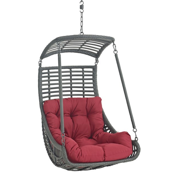 Modway Furniture Jungle Red Outdoor Patio Swing Chair EEI-2274-RED-SET