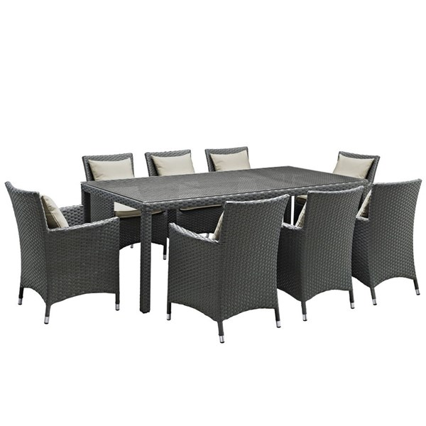 Modway Furniture Sojourn Beige 9pc Outdoor Sunbrella Dining Set EEI-2309-CHC-BEI-SET