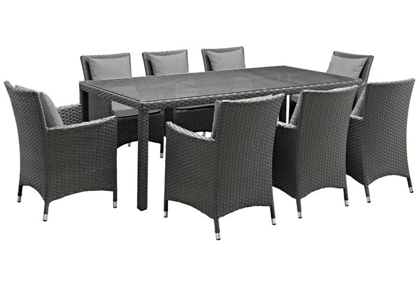 Modway Furniture Sojourn Gray 9pc Outdoor Sunbrella Dining Set EEI-2309-CHC-GRY-SET
