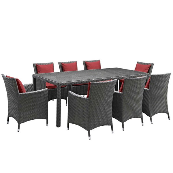 Modway Furniture Sojourn Red 9pc Outdoor Sunbrella Dining Set EEI-2309-CHC-RED-SET