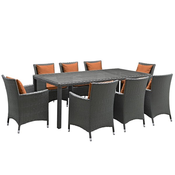 Modway Furniture Sojourn Tuscan 9pc Outdoor Sunbrella Dining Set EEI-2309-CHC-TUS-SET