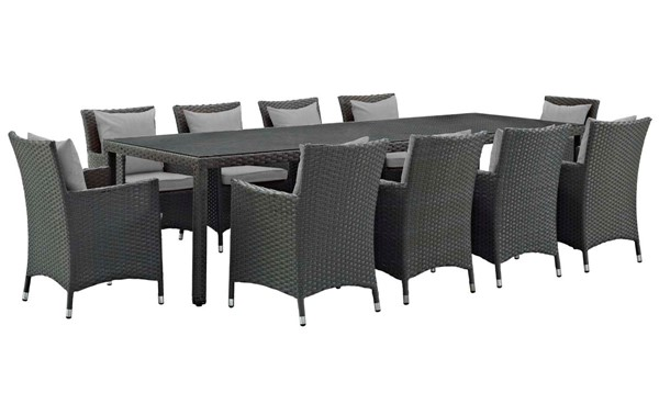 Modway Furniture Sojourn Gray 11pc Outdoor Sunbrella Dining Set EEI-2310-CHC-GRY-SET