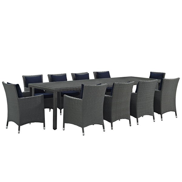 Modway Furniture Sojourn Navy 11pc Outdoor Sunbrella Dining Set EEI-2310-CHC-NAV-SET
