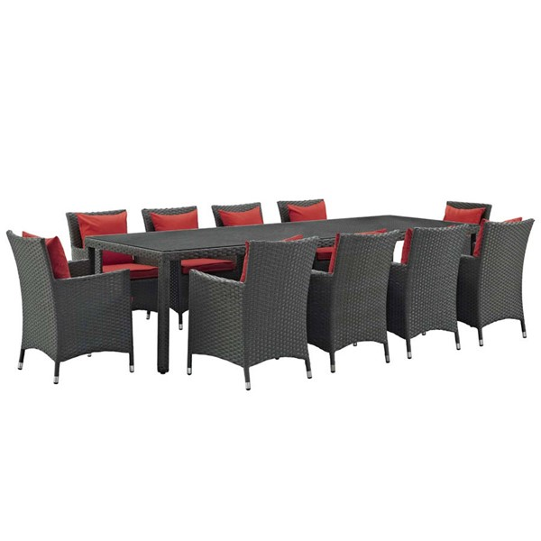 Modway Furniture Sojourn Red 11pc Outdoor Sunbrella Dining Set EEI-2310-CHC-RED-SET