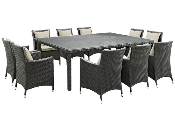 Modway Furniture Sojourn Beige Fabric 11pc Outdoor Sunbrella Dining Set EEI-2311-CHC-BEI-SET