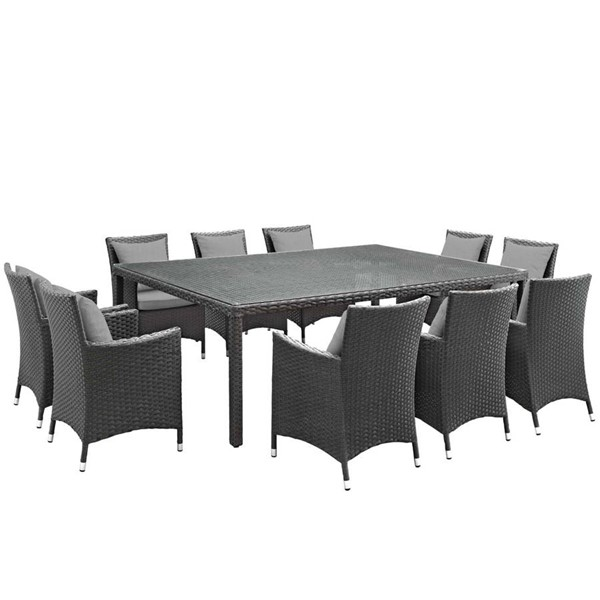 Modway Furniture Sojourn Gray Fabric 11pc Outdoor Sunbrella Dining Set EEI-2311-CHC-GRY-SET