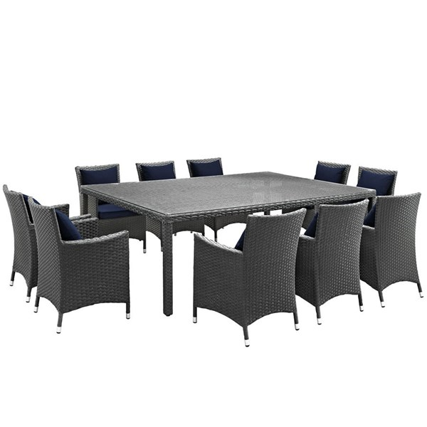 Sojourn Navy Fabric PE Rattan Glass 11pc Outdoor Dining Set EEI-2311-CHC-NAV-SET