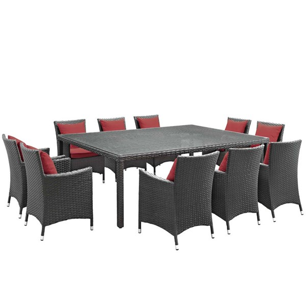 Modway Furniture Sojourn Red Fabric 11pc Outdoor Sunbrella Dining Set EEI-2311-CHC-RED-SET