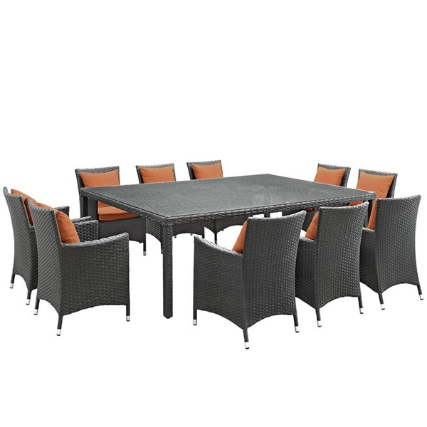 Sojourn Tuscan Fabric PE Rattan Glass 11pc Outdoor Patio Dining Set EEI-2311-CHC-TUS-SET