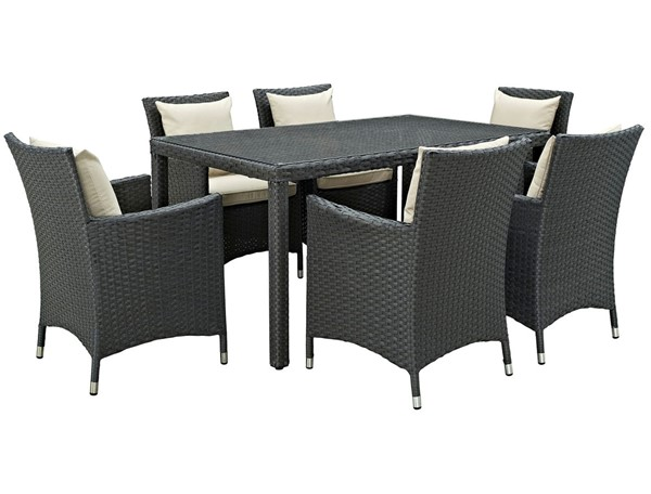 Modway Furniture Sojourn Beige Fabric 7pc Outdoor Sunbrella Dining Set EEI-2312-CHC-BEI-SET
