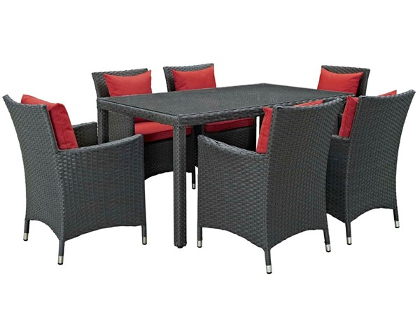 Modway Furniture Sojourn Red Fabric 7pc Outdoor Sunbrella Dining Set EEI-2312-CHC-RED-SET