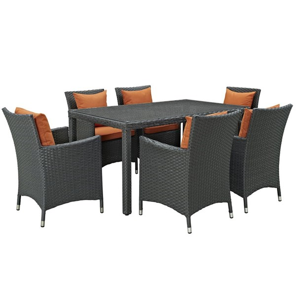 Modway Furniture Sojourn Tuscan Fabric 7pc Outdoor Sunbrella Dining Set EEI-2312-CHC-TUS-SET