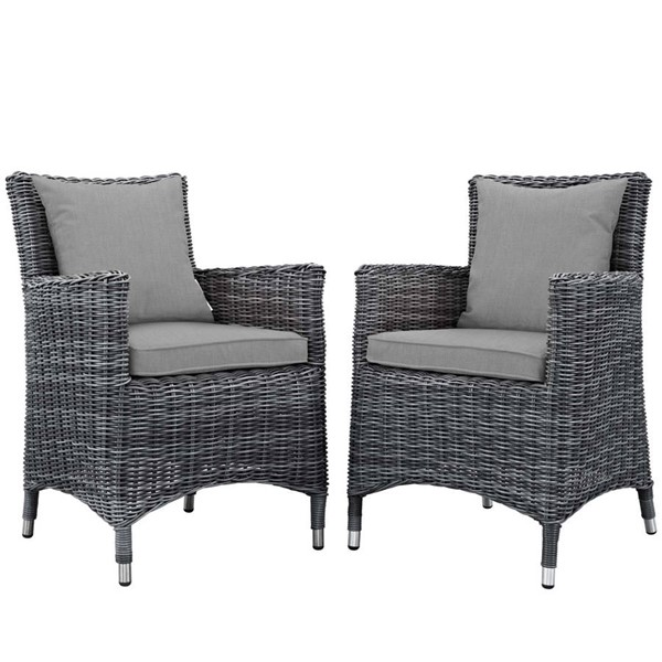 2 Modway Furniture Summon Gray Outdoor Sunbrella Dining Chairs EEI-2313-GRY-GRY-SET