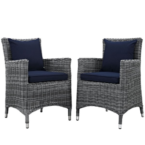 2 Summon Navy Fabric Rattan Aluminum Outdoor Patio Dining Chairs EEI-2313-GRY-NAV-SET