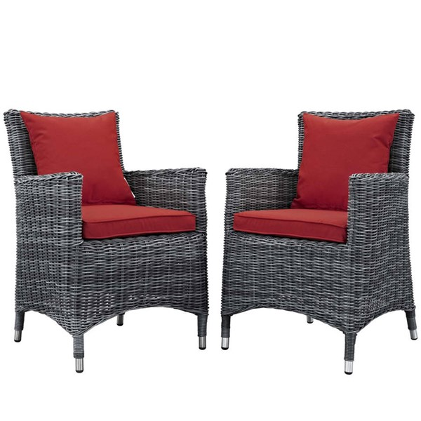 2 Modway Furniture Summon Red Outdoor Sunbrella Dining Chairs EEI-2313-GRY-RED-SET