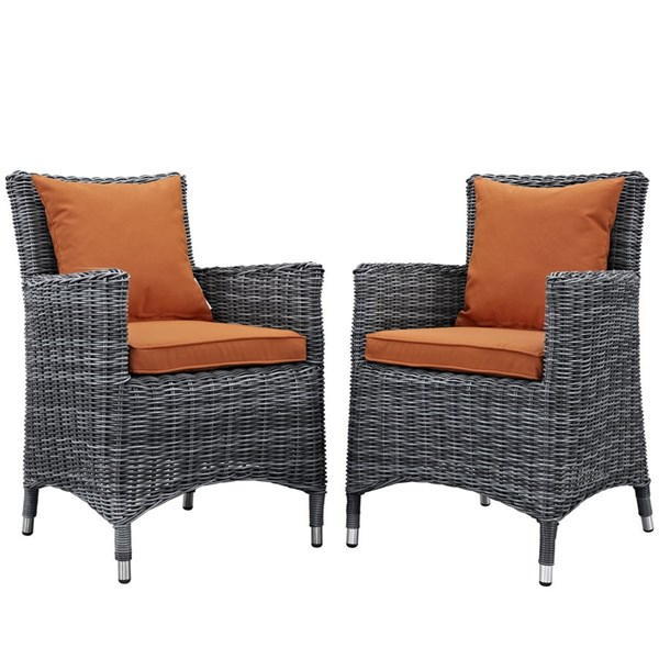 2 Summon Tuscan Fabric Rattan Aluminum Outdoor Patio Dining Chairs EEI-2313-GRY-TUS-SET