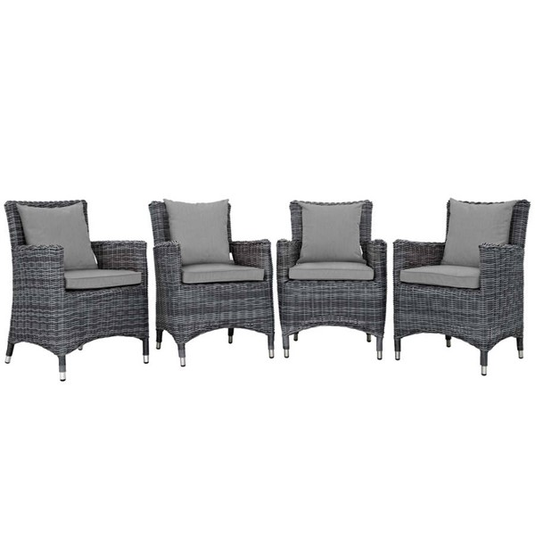 4 Modway Furniture Summon Gray Outdoor Sunbrella Dining Chairs EEI-2314-GRY-GRY-SET
