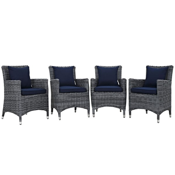 4 Modway Furniture Summon Navy Outdoor Sunbrella Dining Chairs EEI-2314-GRY-NAV-SET