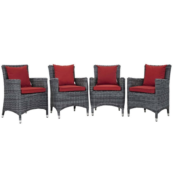 4 Modway Furniture Summon Red Outdoor Sunbrella Dining Chairs EEI-2314-GRY-RED-SET