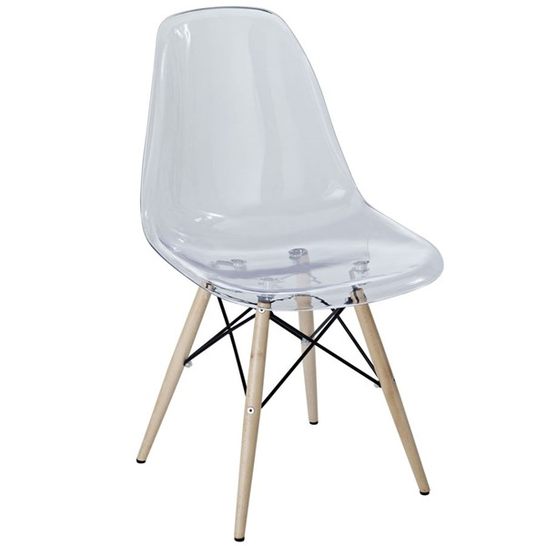 Pyramid Clear Acrylic Solid Wood Dining Side Chair EEI-2315-CLR