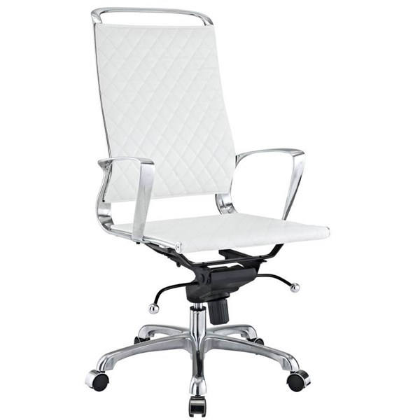 White Modern Leather W/Chrome, Aluminum, Pu Vibe Highback Office Chair EEI-232-WHI
