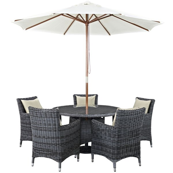 Modway Furniture Summon Beige Round 7pc Outdoor Sunbrella Dining Set EEI-2328-GRY-BEI-SET