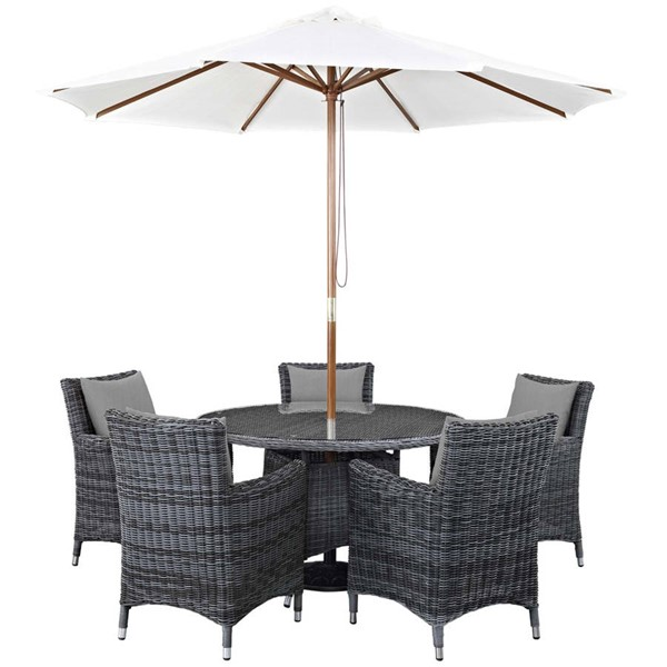 Modway Furniture Summon Gray Round 7pc Outdoor Sunbrella Dining Set EEI-2328-GRY-GRY-SET