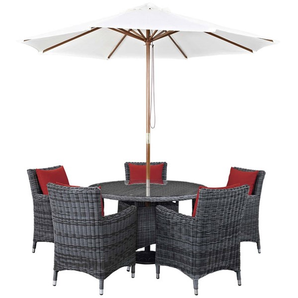 Modway Furniture Summon Red Round 7pc Outdoor Sunbrella Dining Set EEI-2328-GRY-RED-SET