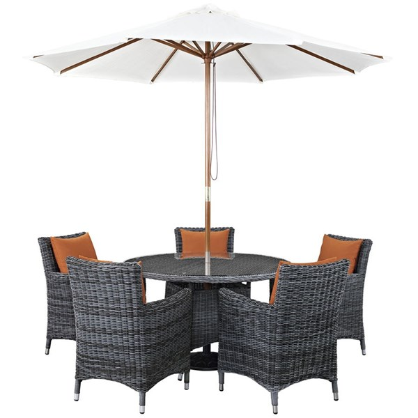 Summon Tuscan Fabric Rattan Glass 7pc Outdoor Patio Dining Set EEI-2328-GRY-TUS-SET
