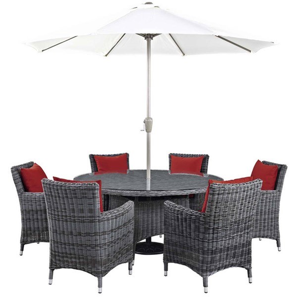 Modway Furniture Summon Red 8pc Outdoor Sunbrella Dining Set EEI-2329-GRY-RED-SET