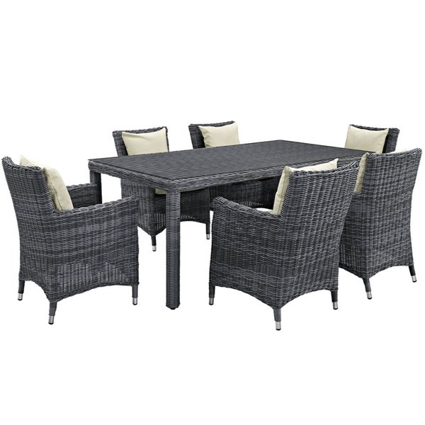 Modway Furniture Summon 7pc Outdoor Sunbrella Dining Sets EEI-2330-PO-DS-VAR