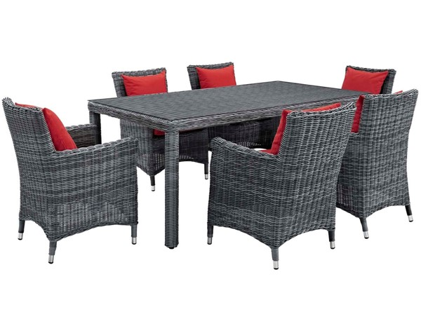 Modway Furniture Summon Red 7pc Outdoor Sunbrella Dining Set EEI-2330-GRY-RED-SET