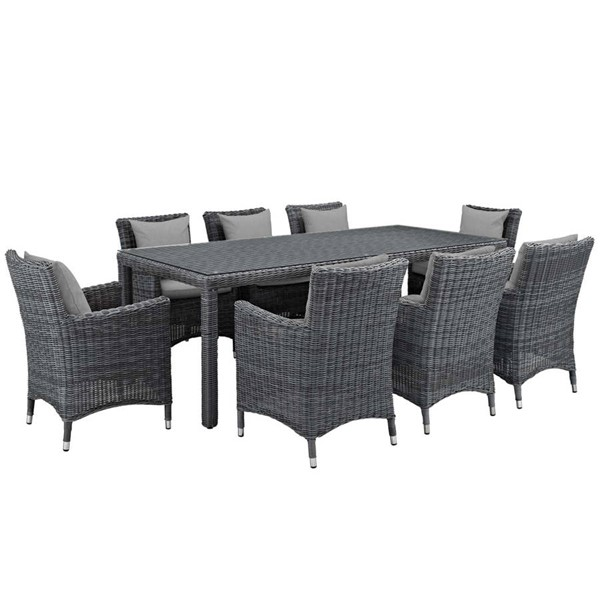 Modway Furniture Summon Gray 9pc Outdoor Sunbrella Dining Set EEI-2331-GRY-GRY-SET